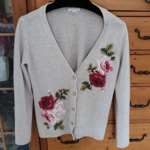 Garnet hill wool embroidered sweater xs